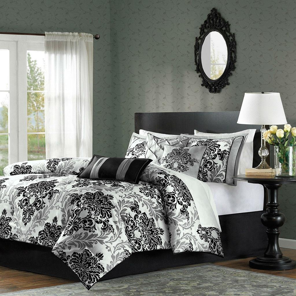 Images Of Black And White Bedroom Bedroom Cupboard Colours Black And White Bedroom Wall Art Grey Bedroom Bin: King Size 7-Piece Comforter Set With Black Grey Damask Pattern