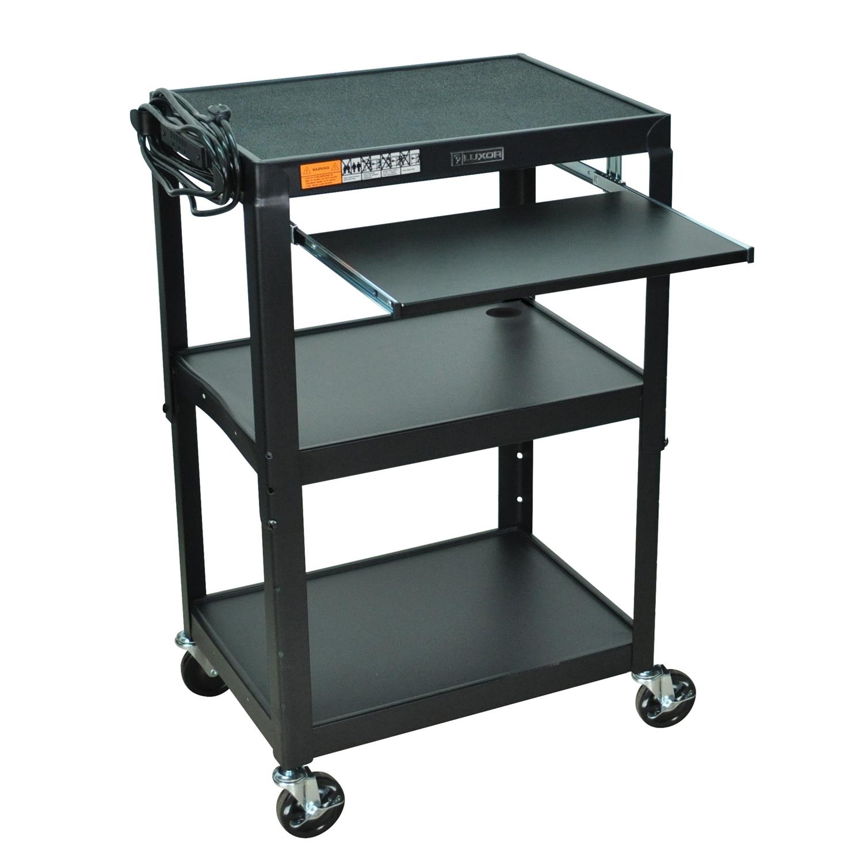 mobile stand up computer desk workstation cart in black steel - Compact Computer Desk
