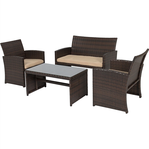 Brown Resin Wicker 4-Piece Modern Patio Furniture Set with Beige Cushions