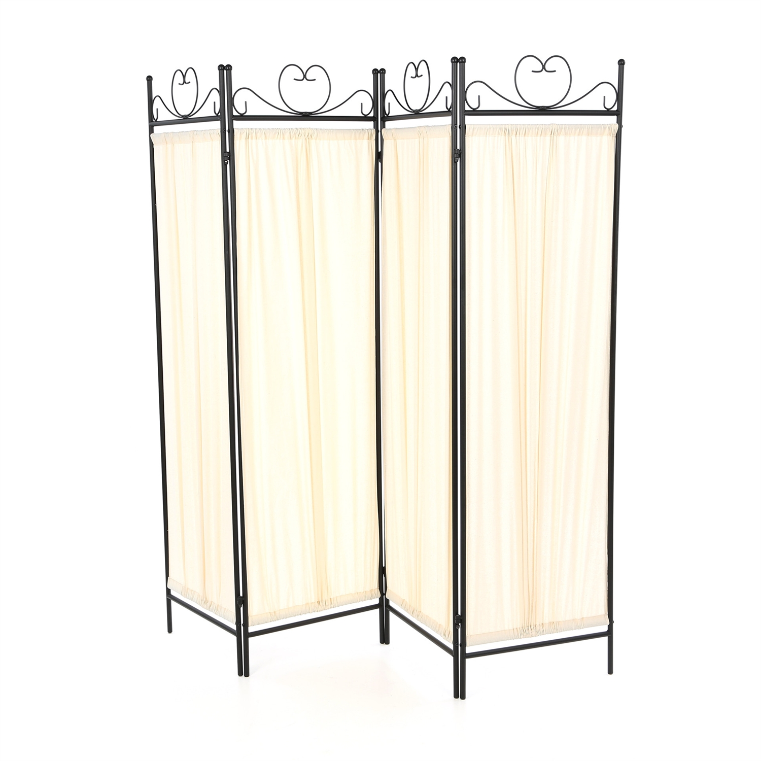 Black Metal 4 Panel Room Divider with Off White Fabric Screen