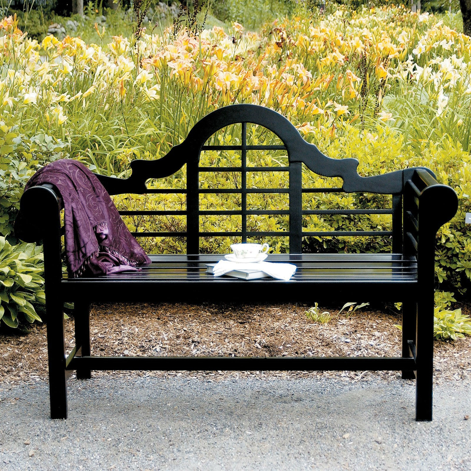 Admirable Weather Resistant 4 5 Ft Eucalyptus Outdoor Garden Bench In Black Ncnpc Chair Design For Home Ncnpcorg
