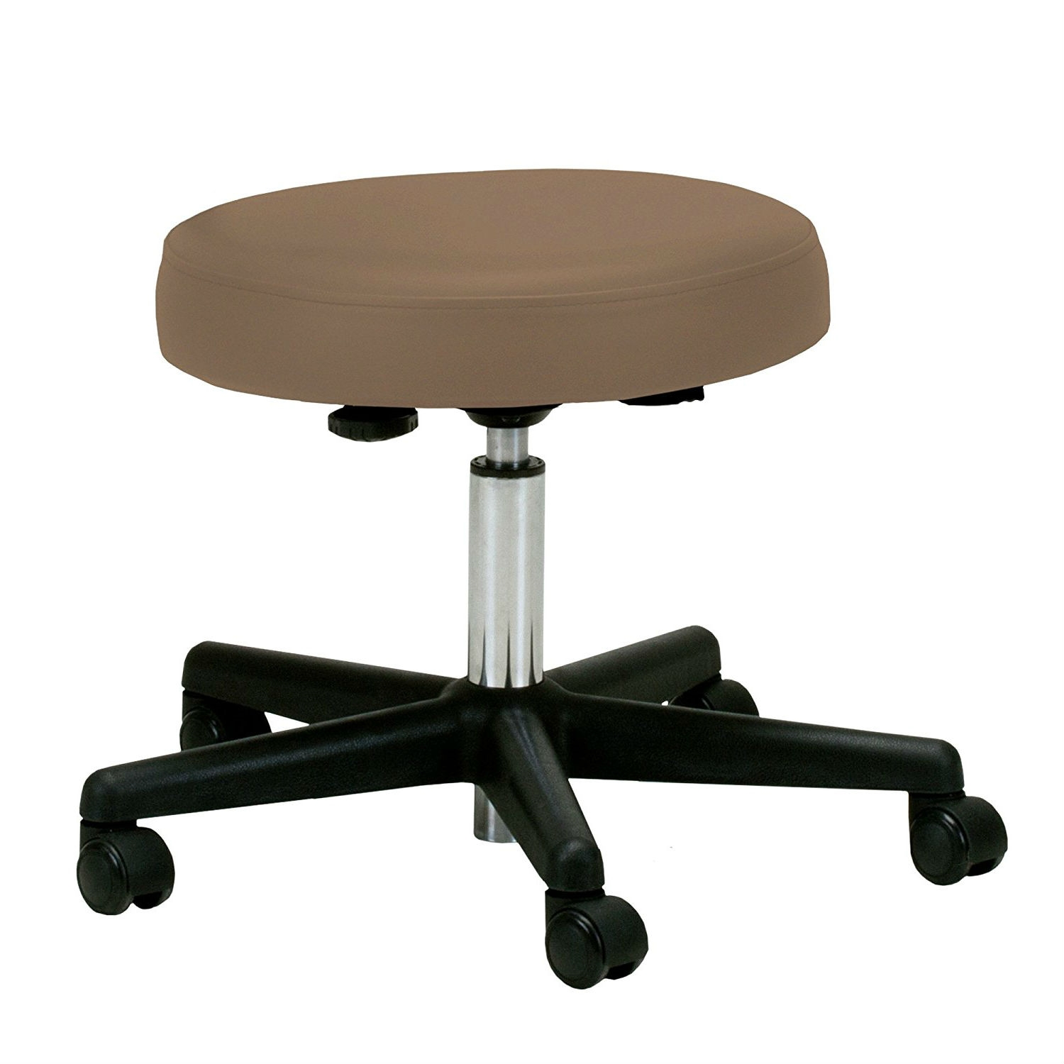 Peachy Adjustable Height Pneumatic Rolling Stool With Latte Brown Padded Seat Ibusinesslaw Wood Chair Design Ideas Ibusinesslaworg