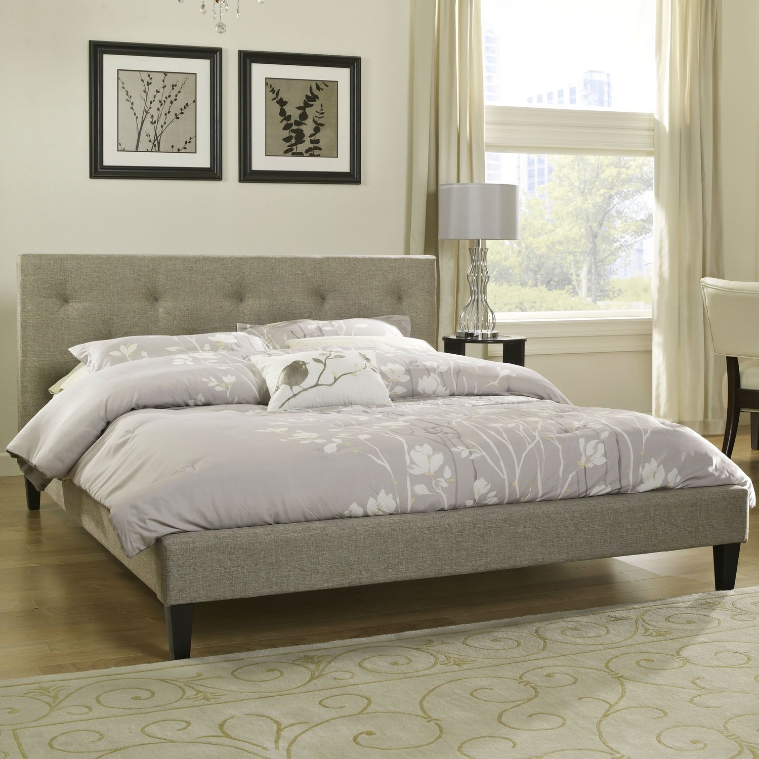 Twin Size Modern Clic Upholstered Platform Bed With Tufted Headboard In Tan Beige