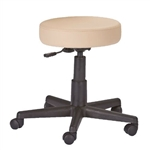 Adjustable Height Pneumatic Rolling Stool with Beige Padded Seat by Earthlite Massage