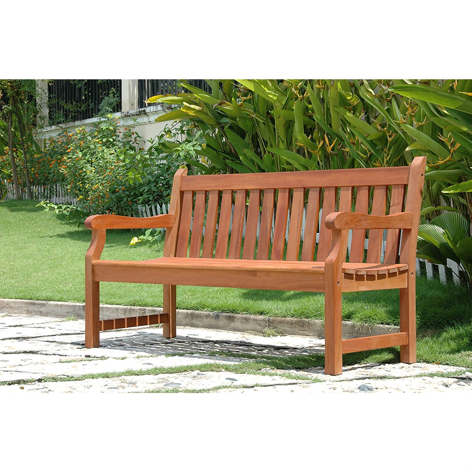 Nice Outdoor Eucalyptus Wood 5 Ft Garden Bench With Natural Finish
