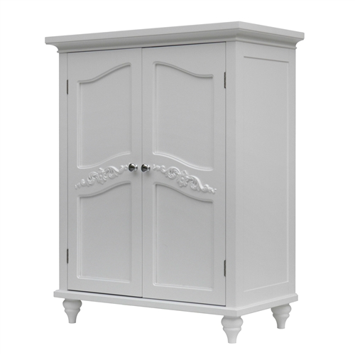 bathroom linen storage floor cabinet with 2 doors in traditional white wood finish. Black Bedroom Furniture Sets. Home Design Ideas