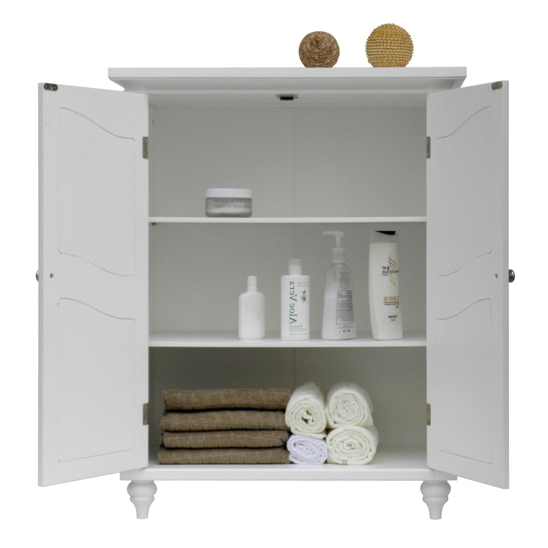Bathroom Linen Storage Floor Cabinet: Bathroom Linen Storage Floor Cabinet With 2-Doors In