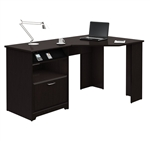 L-Shaped Corner Computer Desk with File Drawer in Espresso Wood Finish