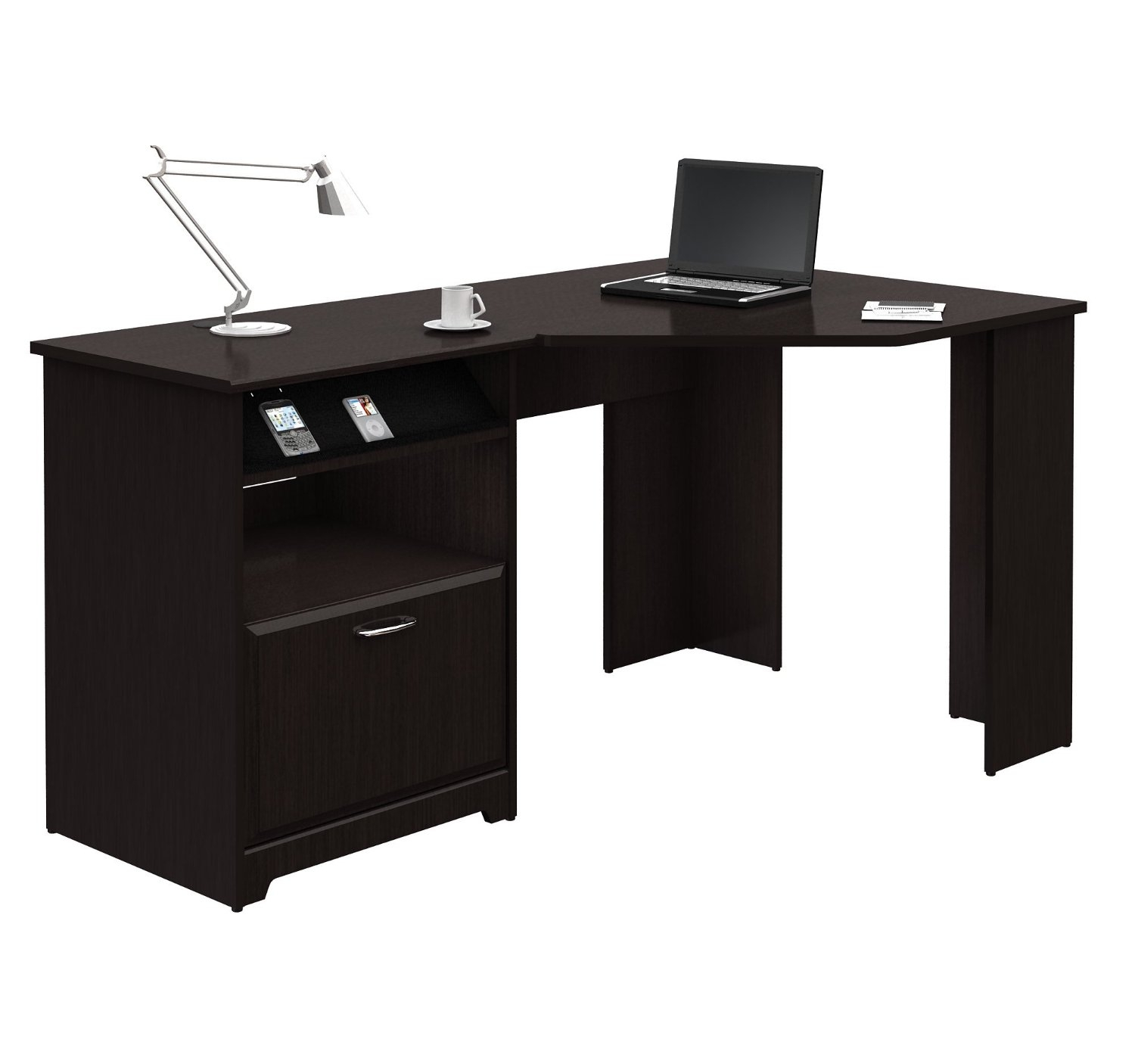 L Shaped Corner Computer Desk With File Drawer In Espresso Wood Finish Fastfurnishings