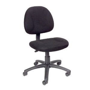Black Office Chair with Padded Seat and Back with Lumbar Support