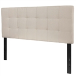 Full size Beige Taupe Fabric Box-Stitch Upholstered Headboard