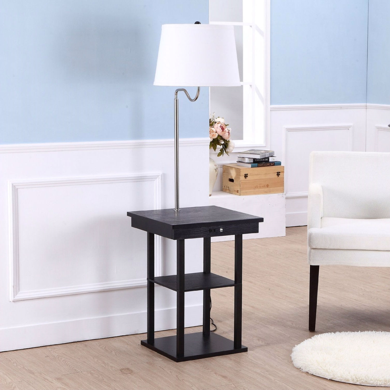 2-in1 Modern Side Table Floor Lamp with White Shade and USB Ports ...