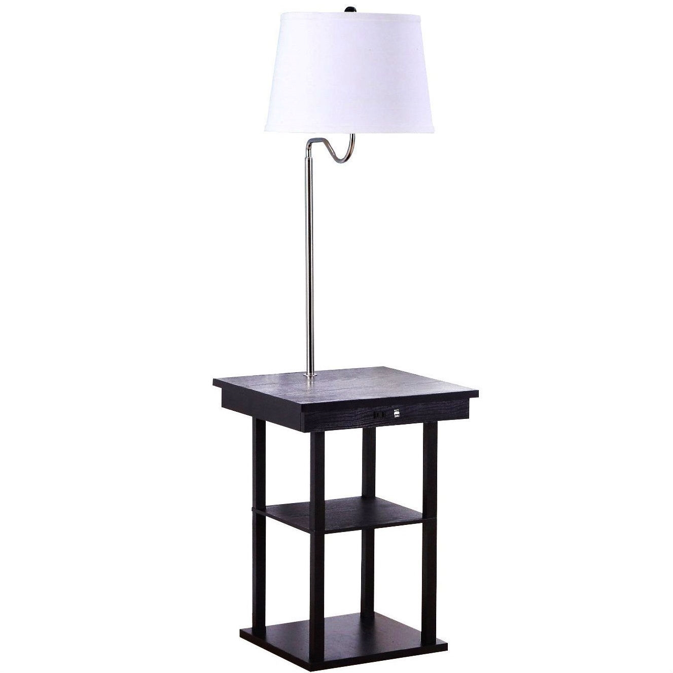 2-in1 Modern Side Table Floor Lamp with White Shade and ...