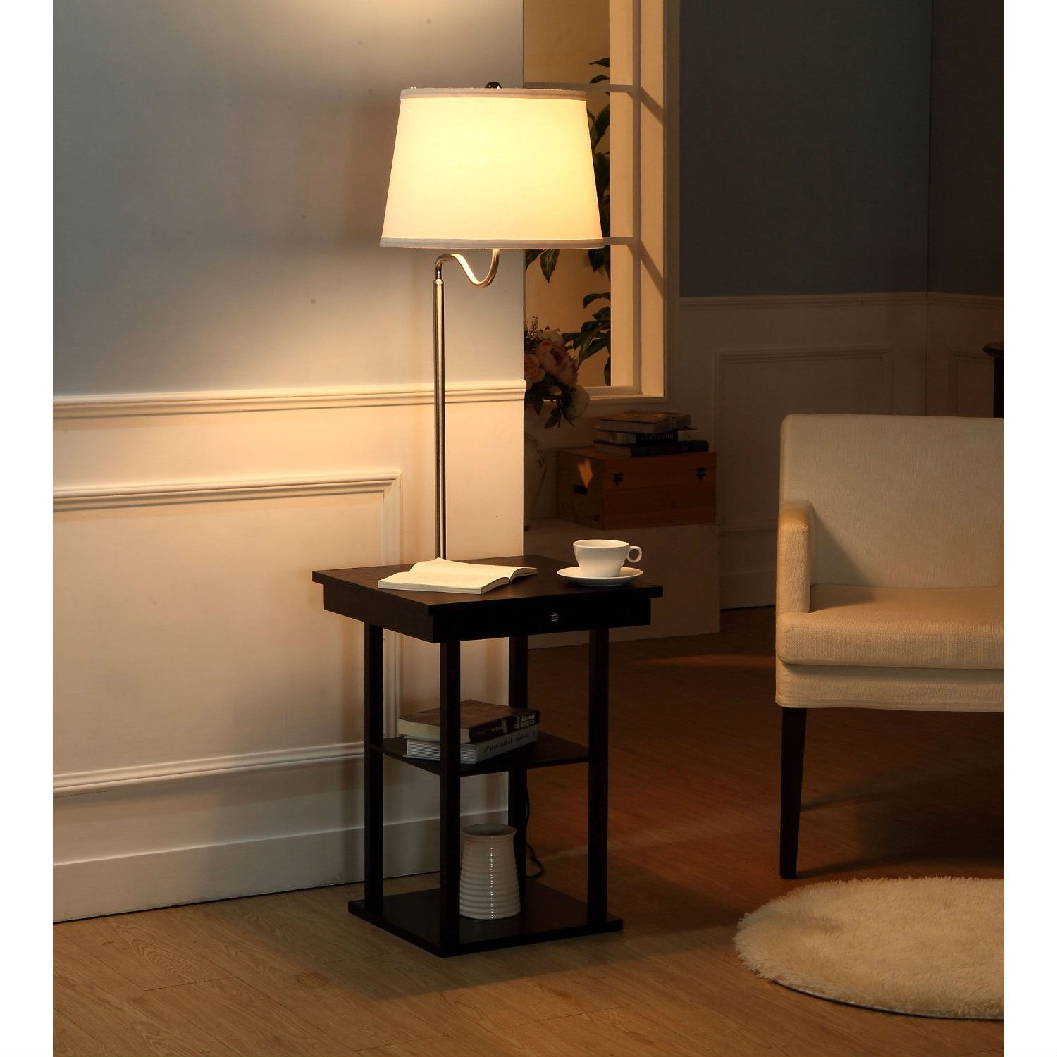 2 In1 Modern Side Table Floor Lamp With White Shade And