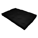 Full size 8-inch Thick Cotton Poly Futon Mattress in Black