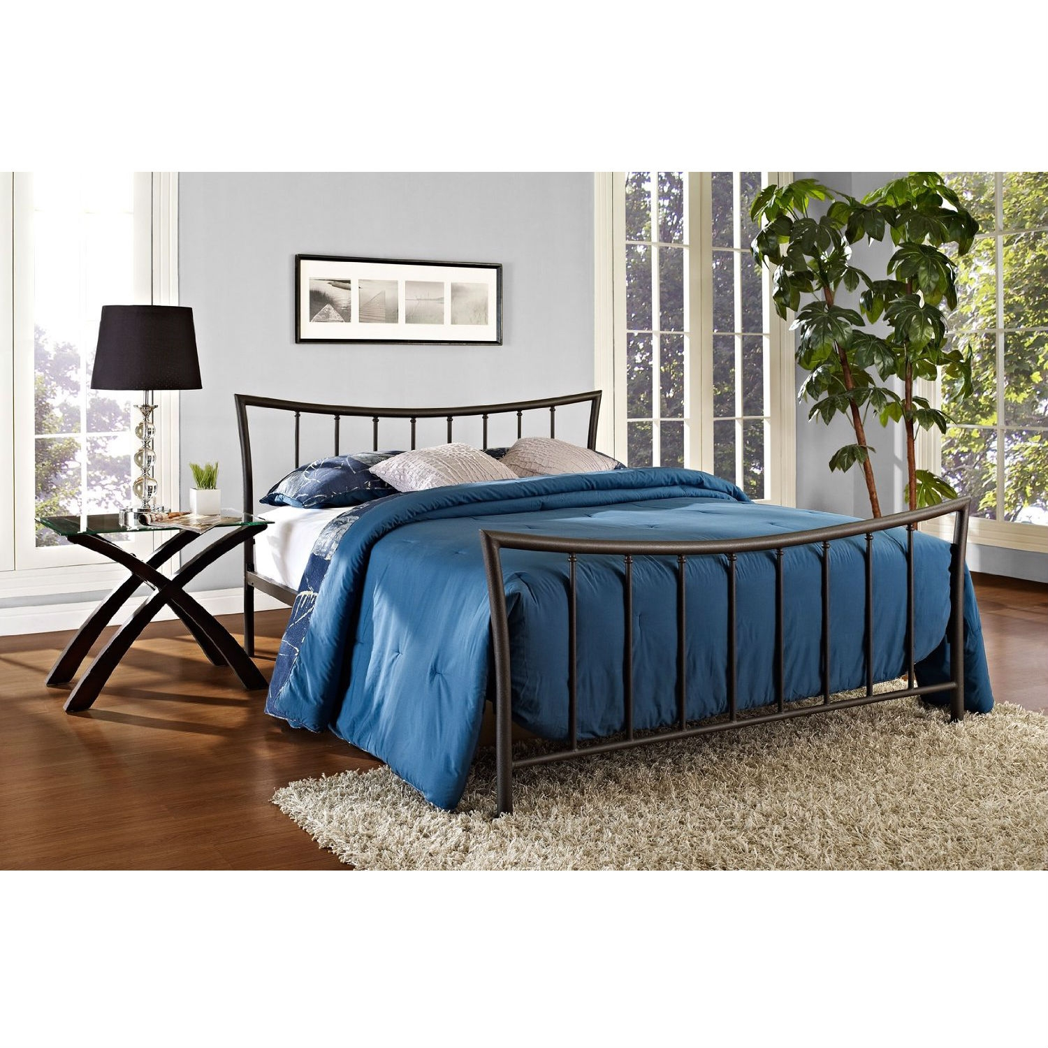Full Size Bronze Metal Platform Bed With Headboard And Footboard
