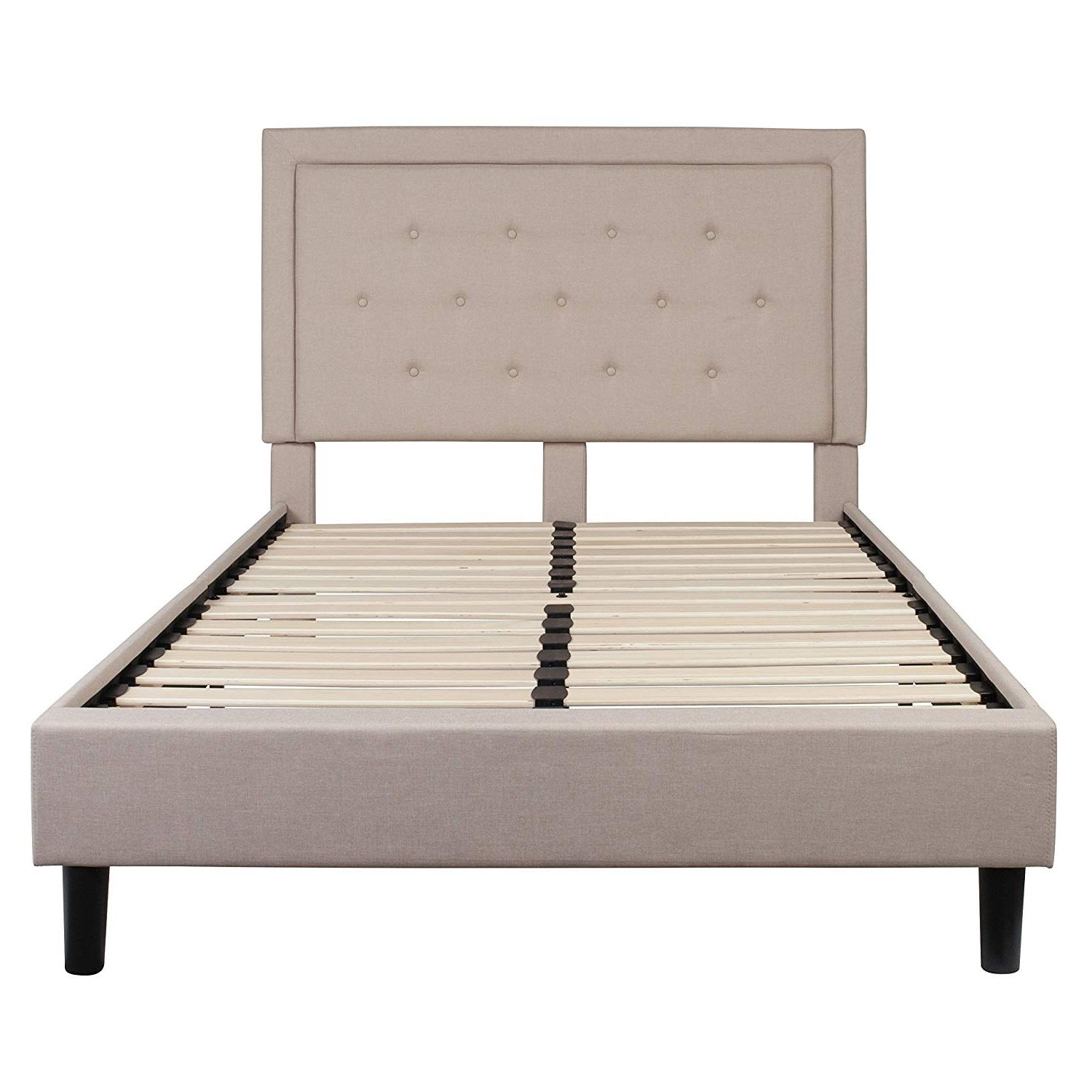 Full Beige Fabric Upholstered Platform Bed Frame With Tufted Headboard Fastfurnishings Com