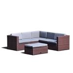 棕色树脂柳条户外露台家具,带有灰色垫子