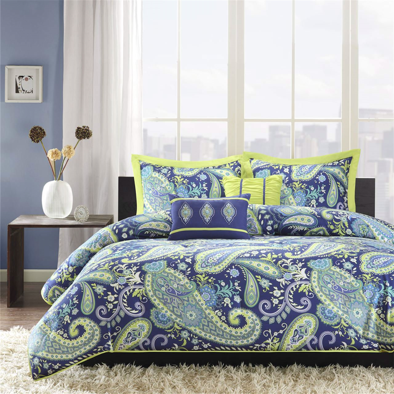 Full Queen size 5 Piece Paisley forter Set in Blue