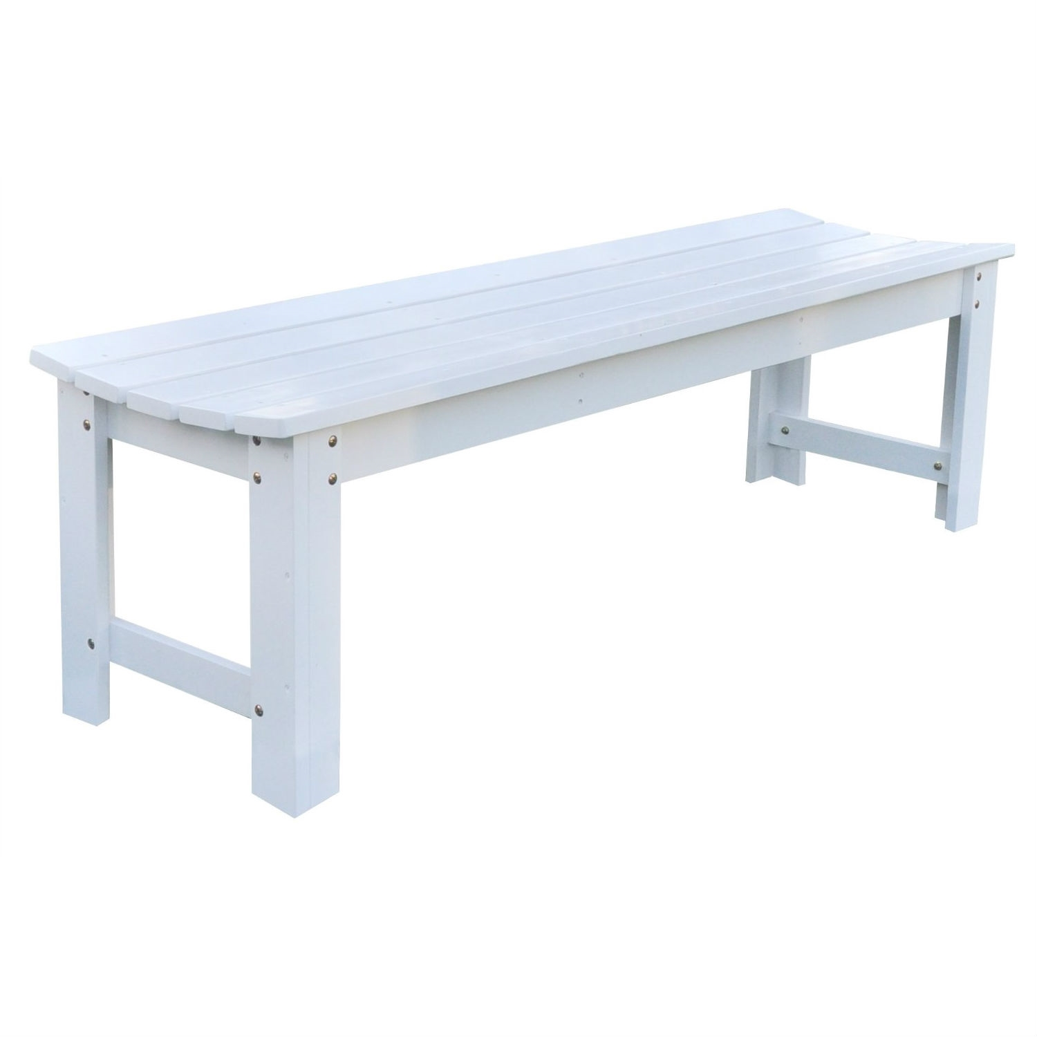 5 Ft Backless Outdoor Garden Bench In Cedar Wood   White