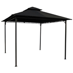 10-Ft x 10-Ft Outdoor Gazebo with Black Weather Resistant Fabric Canopy