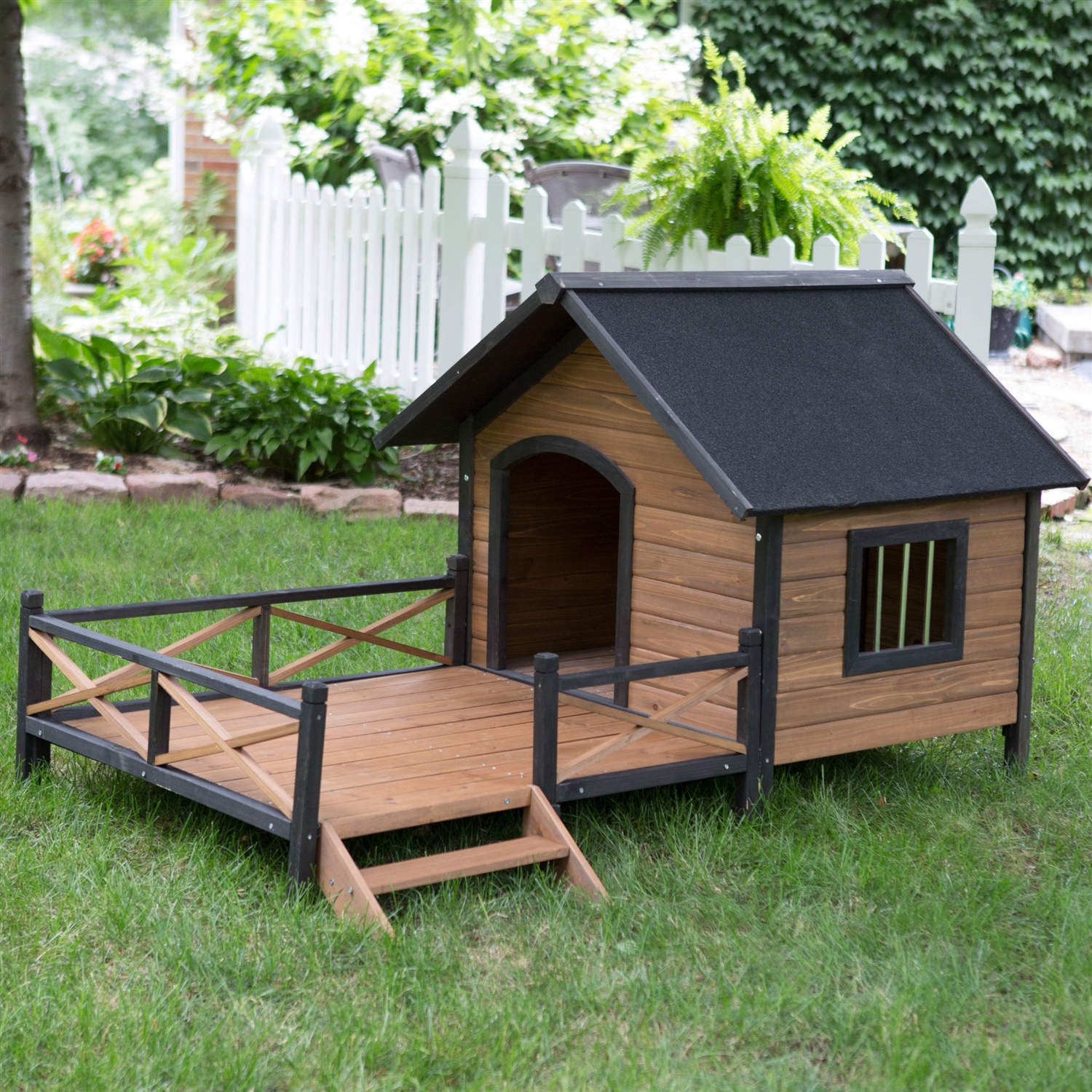 Large Solid Wood Outdoor Dog House With Spacious Deck