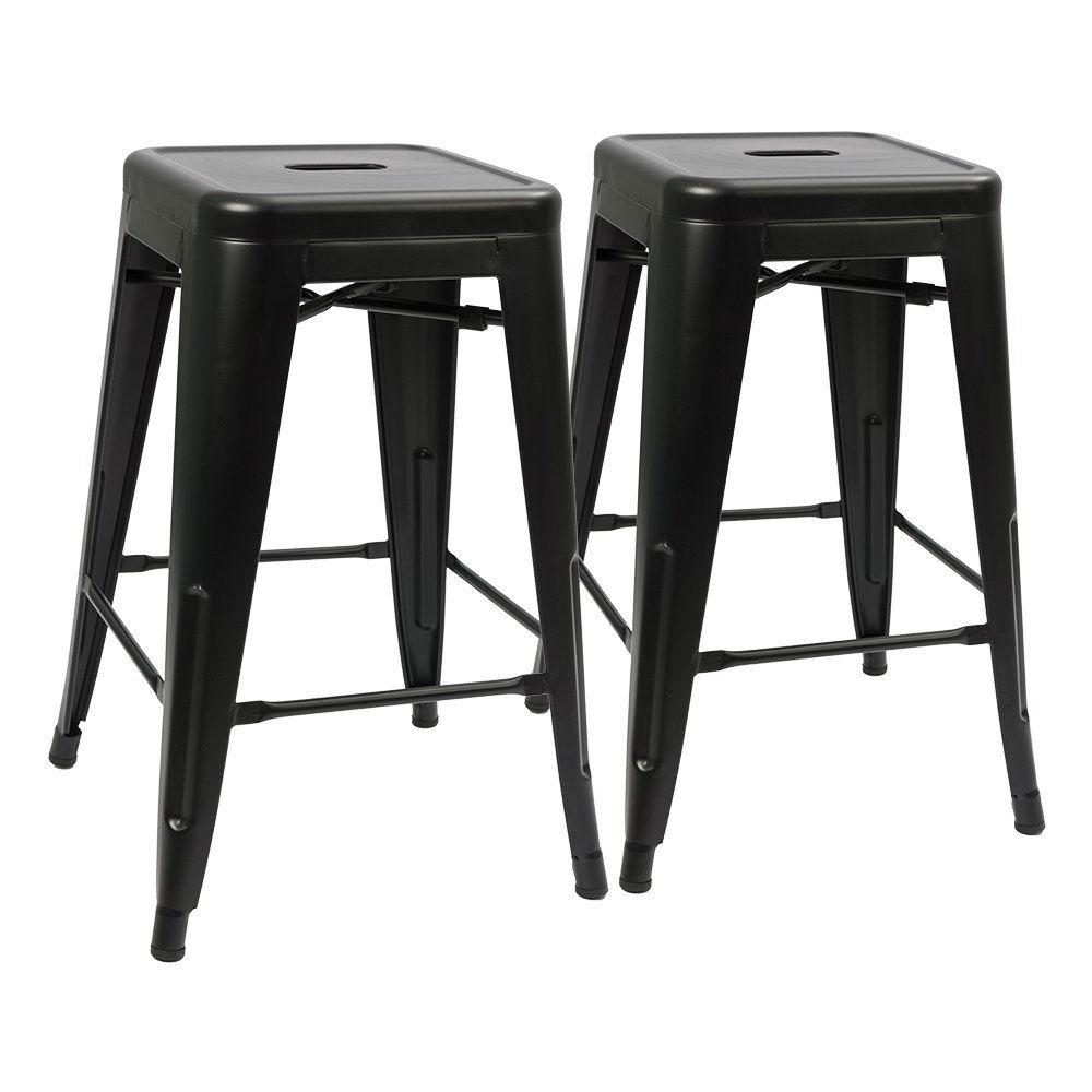 Set Of 2 Modern 24 Inch Backless Metal Bar Stools In Black