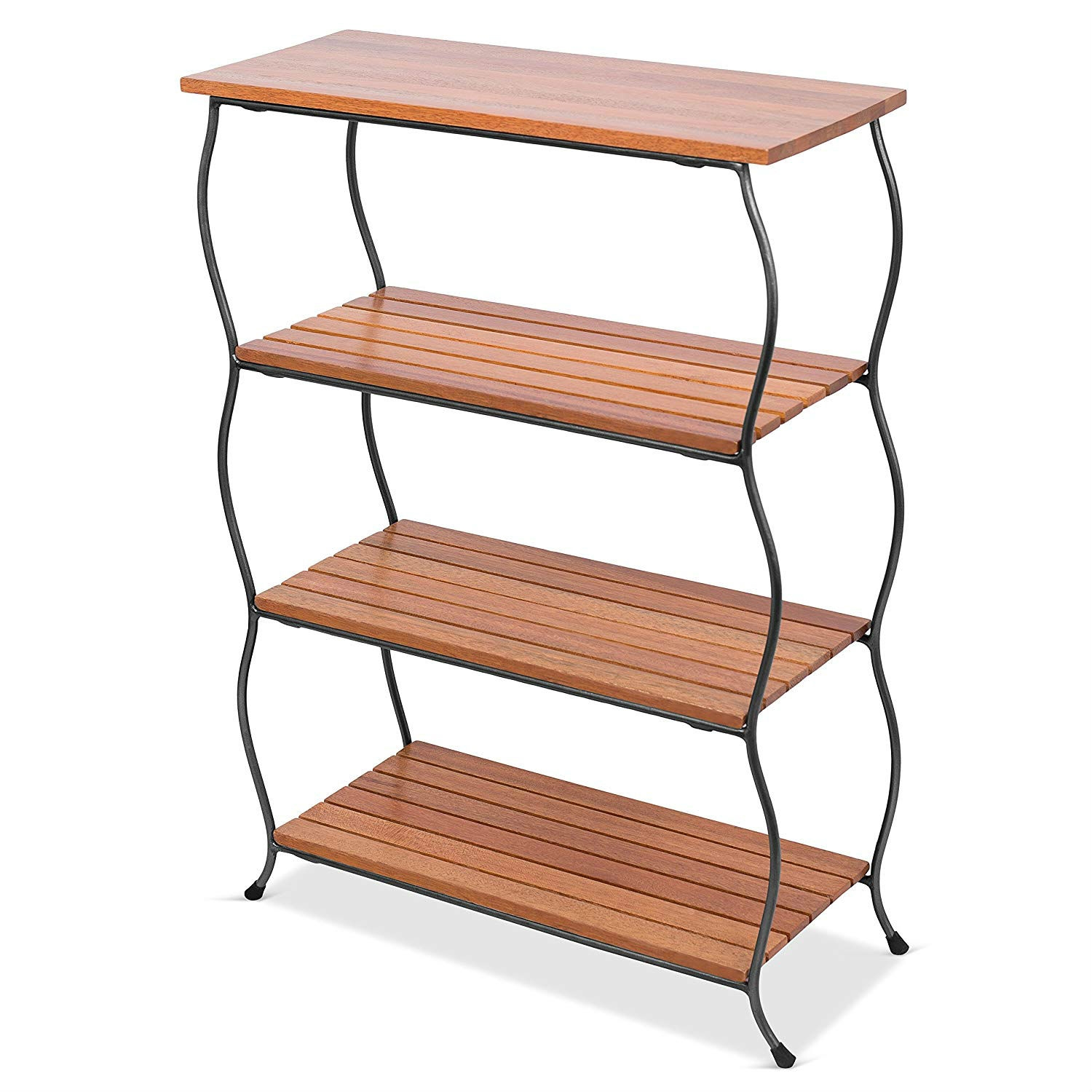 Freestanding 4 Shelf Wood Metal Shelving Unit Bookcase