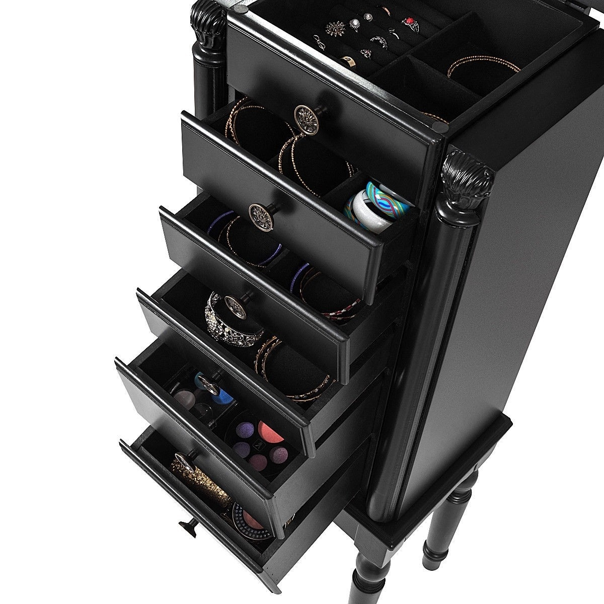 Black Wood Jewelry Armoire 6 Drawer Storage Chest With Mirror Fastfurnishings Com