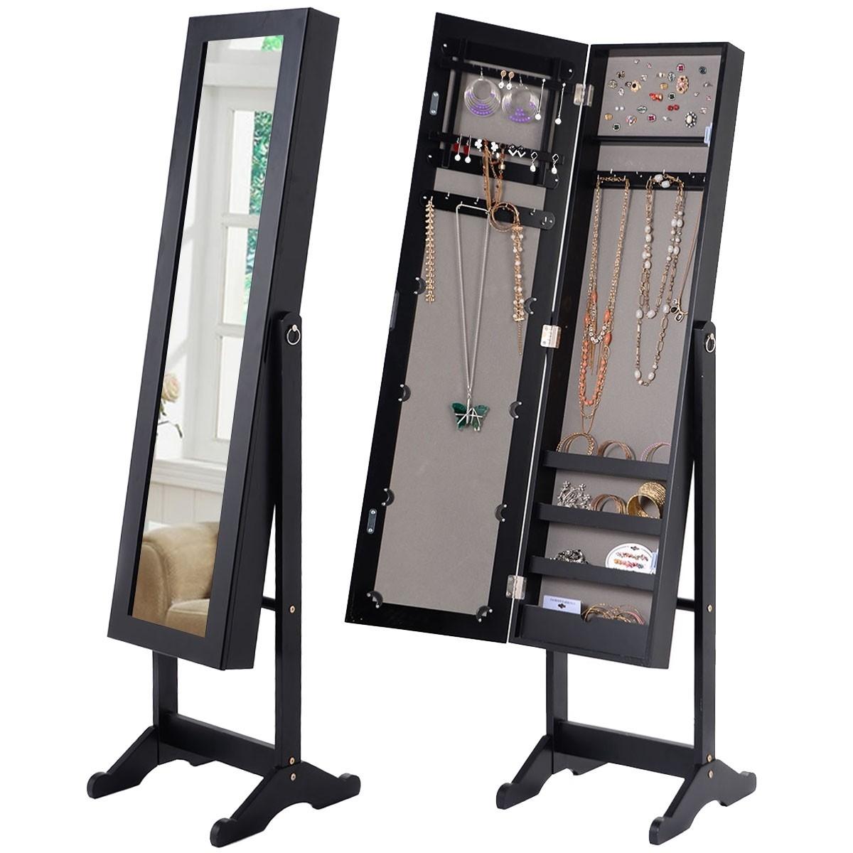 Black Wood Jewelry Storage Cabinet Freestanding Floor Mirror Fastfurnishings Com