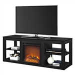 Modern 2-in-1 Electric Fireplace TV Stand in Black