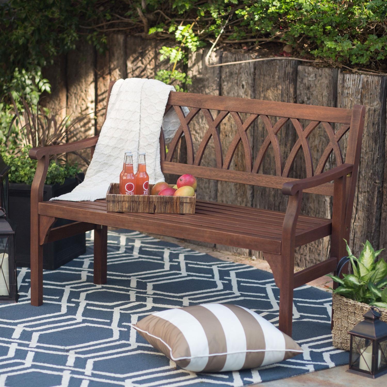 4 Ft Outdoor Garden Bench In Dark Brown Weather Resistant Wood Finish