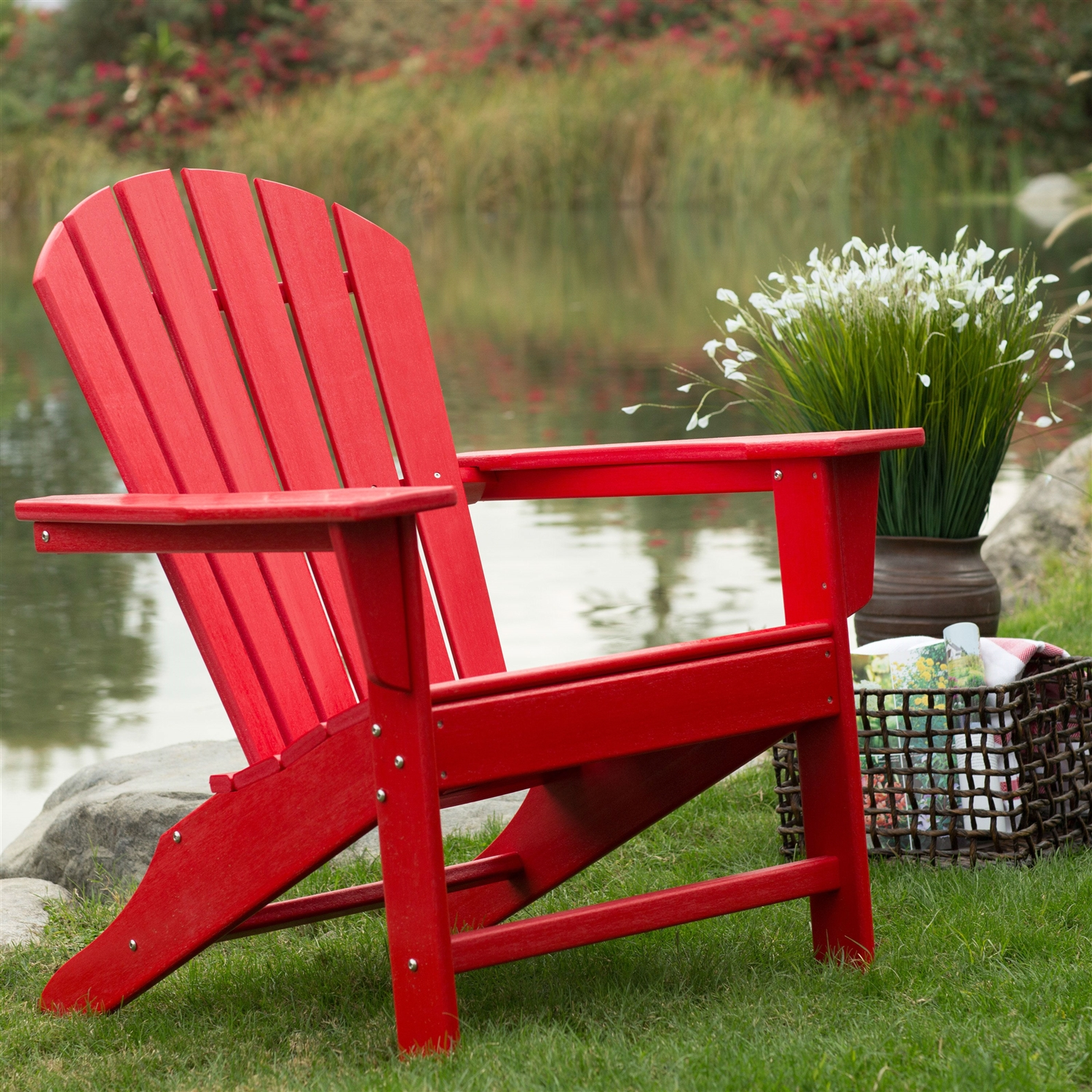 Charmant Outdoor Patio Seating Garden Adirondack Chair In Red Heavy Duty Resin