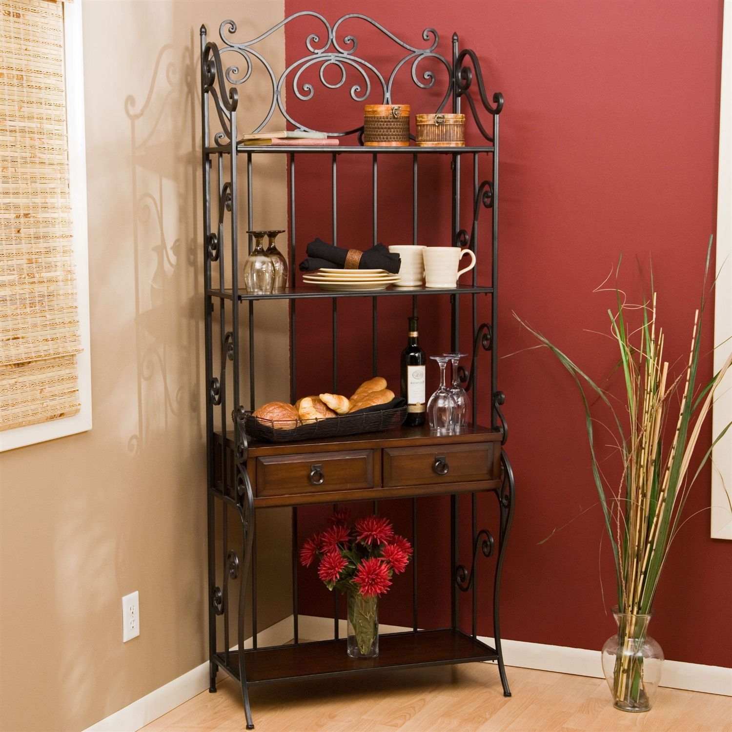 Corner bakers rack with cabinet - Black Wrought Iron And Walnut Wood Finish Bakers Rack