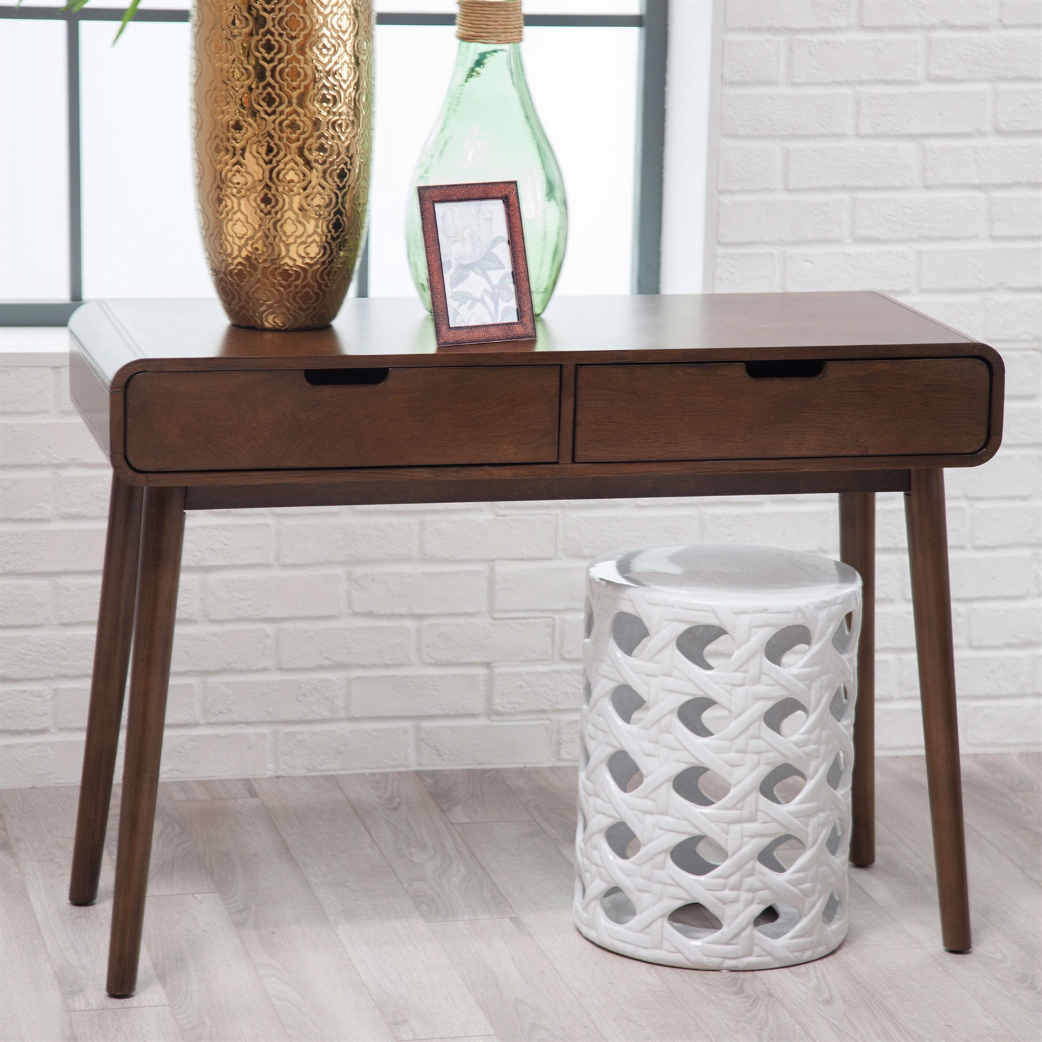Modern Classic Solid Wood Console Sofa Table in Walnut Wood Finish ...