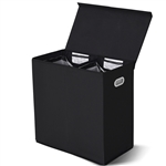 Black 2-Bin Laundry Hamper Clothes Storage Basket with Removable Bags