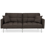Plush Brown Split-Back Design Convertible Linen Tufted Futon w/ 2 Pillows