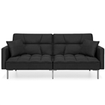 Plush Black Split-Back Design Convertible Linen Tufted Futon w/ 2 Pillows