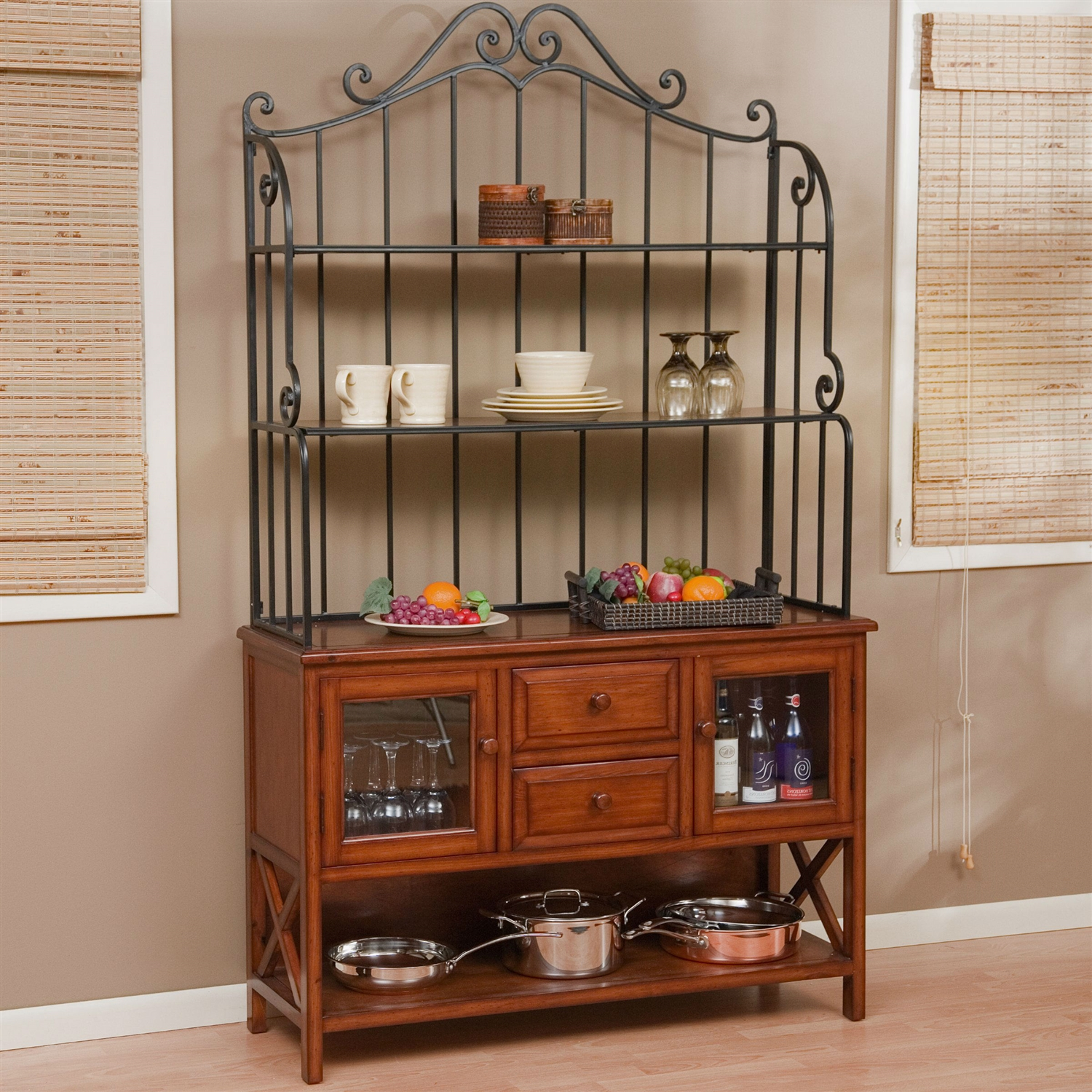 Wrought Iron Top  Inch Bakers Rack In Heritage Oak Wood Finish