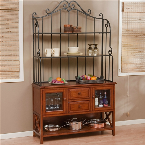 Wrought Iron Top 47-inch Bakers Rack in Heritage Oak Wood Finish