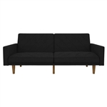 Black Mid-Century Modern Linen Upholstered Sofa Bed with Classic Wood Legs