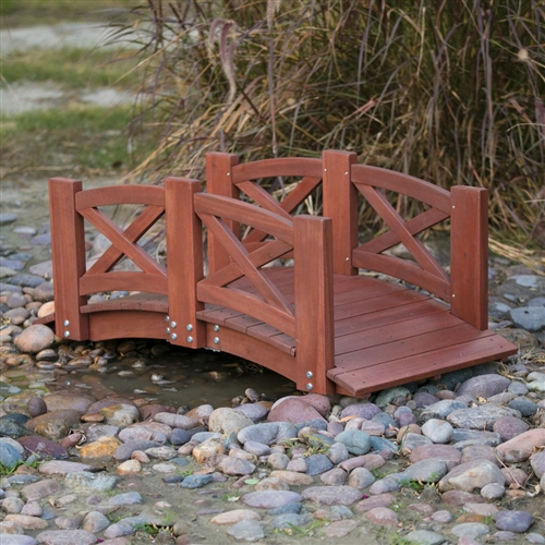 Arched Bridge Plans: Red Stained Wood 4-Ft Garden Bridge With X-Design Hand