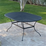 Oval 72 x 42 inch Black Wroght Iron Outdoor Patio Dining Table
