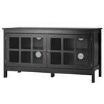 Black Wood Entertainment Center TV Stand with Glass Panel Doors