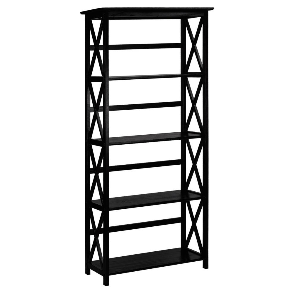 Tall 5-Tier Bookcase in Black Wood Finish