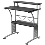 Modern Metal Frame Computer Desk with Black Laminate Top and Raised Shelf