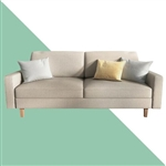 Beige Linen Upholstered Sofa with Modern Mid-Century Style Wood Legs