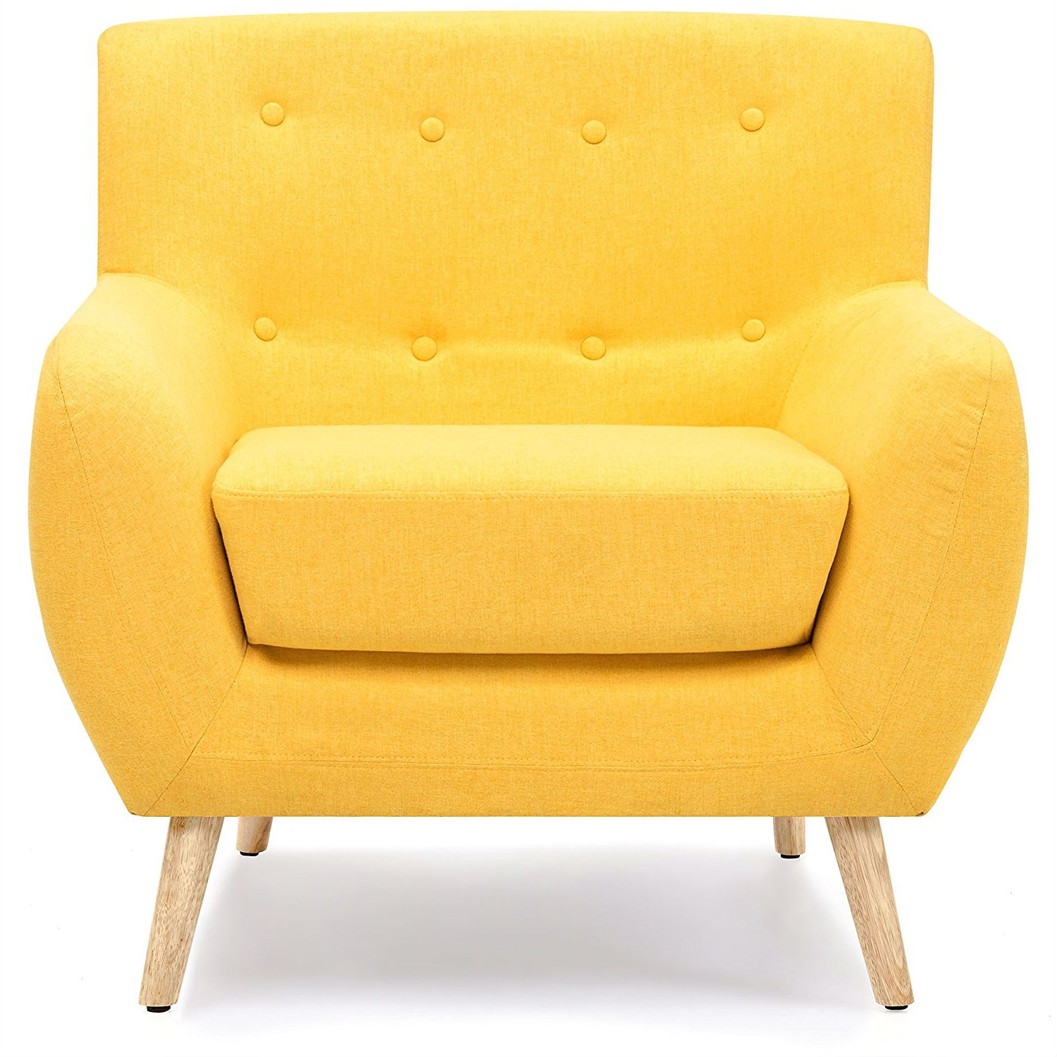 Modern Yellow Linen Upholstered Armchair With Mid Century Style Wooden Legs