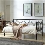 双尺寸当代黑金属沙发床,带金属支撑板条