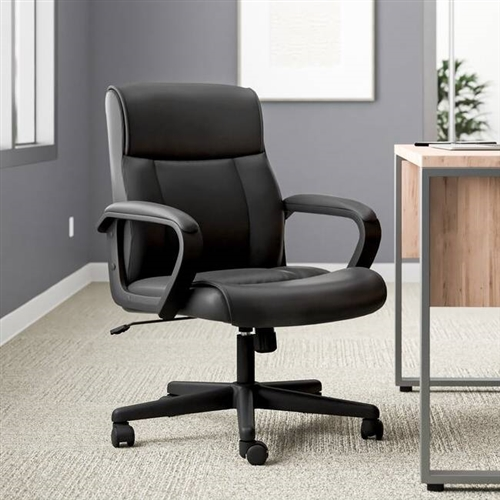 Mid-Back Ergonomic Office Chair in Black Faux Leather with Armrests